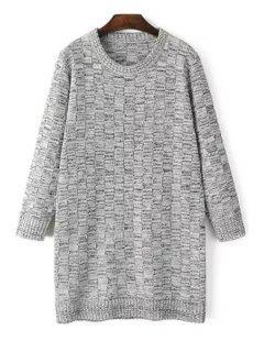 Long Sleeve Checked Jacquard Sweater - Light Gray