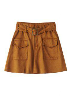 Two Pockets Belted Suede Skirt - Brown M
