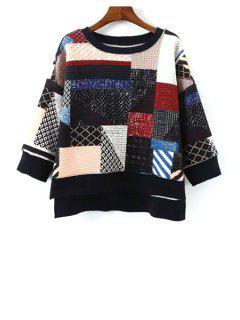 Print Spliced 3/4 Sleeve Sweatshirt - S