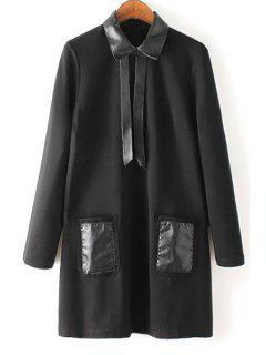 PU Leather Spliced Black Long Sleeve Dress - Black M