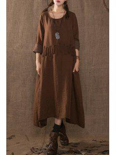 Solid Color Rope Embellishment Long Sleeves Dress - Coffee