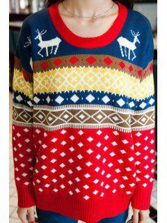 Argyle Pattern Long Sleeve Christmas Jumper - Blue