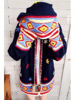 Flower Embroidery Hooded Long Sleeve Cardigan - Deep Blue L
