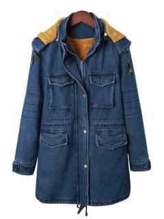 Blue Hooded Long Sleeve Denim Coat - Purplish Blue Xl
