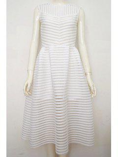 Sleeveless Mesh Panel Prom Dress - White S