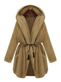 Hooded Thicken Faux Fur Solid Color Coat - Khaki Xl