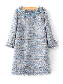 Multi Color Jewel Neck 3/4 Sleeve Dress - S