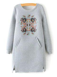 Floral Scoop Neck Long Sleeve Dress - Gray S