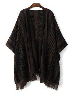Tassels Striped 3/4 Sleeve Cardigan - Black L