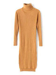 Slit Turtle Neck Long Sleeve Sweater Dress - Khaki