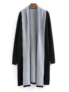 Color Block Turn Down Collar Long Sleeve Cardigan - Black