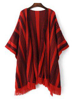 Striped Fringes Batwing Sleeves Cape Cardigan - Red L
