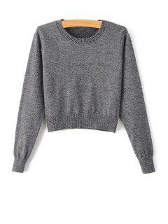 Pure Color Jewel Neck Long Sleeve Jumper - Gray L
