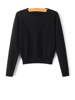 Pure Color Jewel Neck Long Sleeve Jumper - Black S