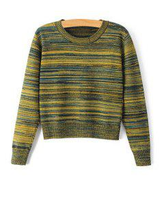 Stripes Jewel Neck Long Sleeve Jumper - Green L