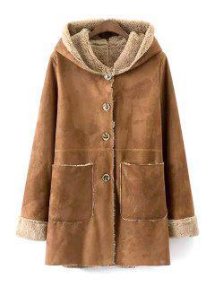 Khaki Faux Suede Hooded Long Sleeve Coat - Khaki M