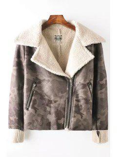 Fleece Lining Suede Camo Jacket - Gray L