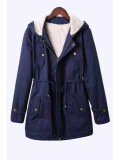 Pure Color Hooded Drawstring Coat - Cadetblue M