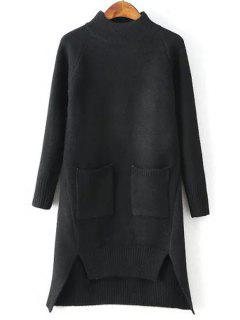 Solid Color Pockets Irregular Hem Sweater Dress - Black