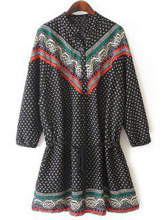 Ethnic Drawstring Design Chiffon Dress - Black