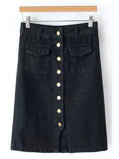 Single-Breasted Denim Midi Skirt - Black M