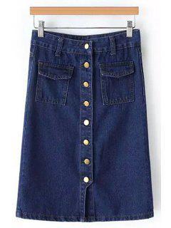 Single-Breasted Denim Midi Skirt - Blue M