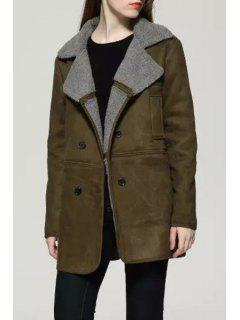 Suede Solid Color Turn-Down Collar Coat - Green M
