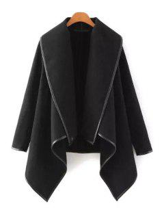 Large Lapel Irregular Hem Wool Coat - Black 3xl