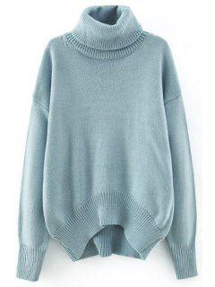 Loose-Fitting Solid Color Batwing Sleeves Turtle Neck Sweater - Azure