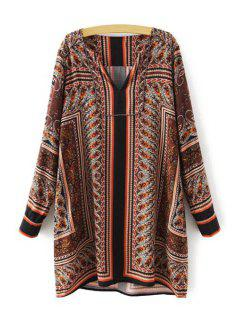 Paisley Print Straight Dress - Brown L