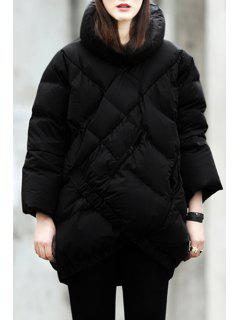 Funnel Collar Checked Down Coat - Black Xl