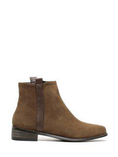 Suede Zipper Solid Color  Ankle Boots - Brown 38