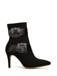 Square Buckle Pointed Toe Suede Short Boots - Black 37