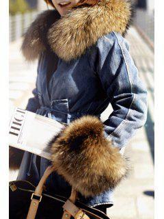 Self-Tie Denim Faux Fur Collar Long Sleeves Coat - Light Blue M