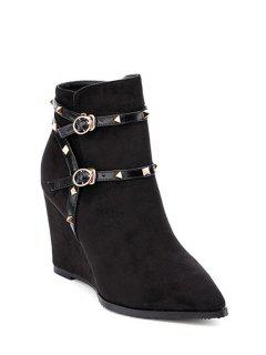 Wedge Heel Rivet Pointed Toe Ankle Boots - Black 38