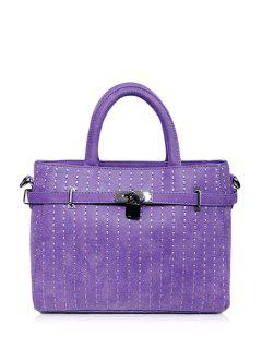 Hasp Stitching Belt Tote Bag - Purple