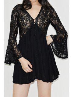 Flare Sleeve Openwork Lace Hook Dress - Black