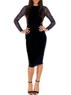 Lace Spliced See-Through Long Sleeves Work Dress - Deep Blue L
