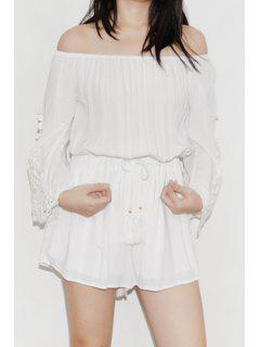Off-The-Shoulder Bell Sleeve Romper - White