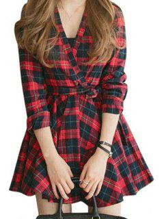 V-Neck Long Sleeves Waisted Plaid Dress - Red With Black L