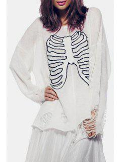 Skeleton Pattern Broken Hole Sweater - White