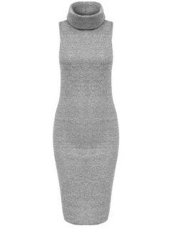 Solid Color Bodycon Turtle Neck Sleeveless Sweater Dress - Light Gray M