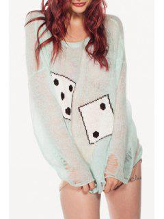 Dice Jacquard Ripped Sweater - Light Green