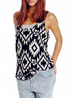 Sleeveless Geometric Jacquard Sweater - Black