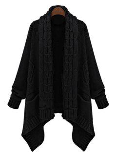Cable Knit Long Thick Cardigan - Black