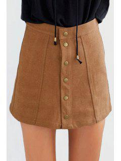 Faux Suede High Waist Solid Color Skirt - Dark Khaki L