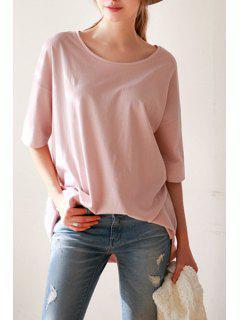 Solid Color High-Low-Hem Half Sleeves T-Shirt - Pink L
