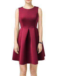 Solid Color Pleated Round Collar Sleeveless Dress - Wine Red S