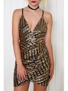 Sequins Cami Bodycon Dress - Black + Gloden L