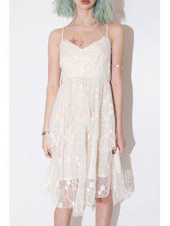 Floral Embroidery Cami Lace Dress - White 2xl